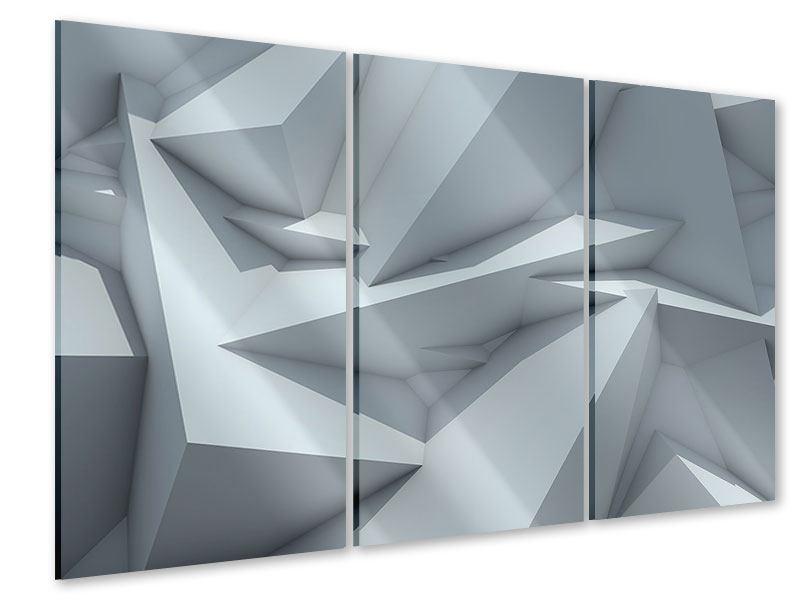 Acrylglasbild 3-teilig 3D-Kristallo