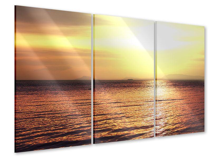 Acrylglasbild 3-teilig Sonnenuntergang an der See