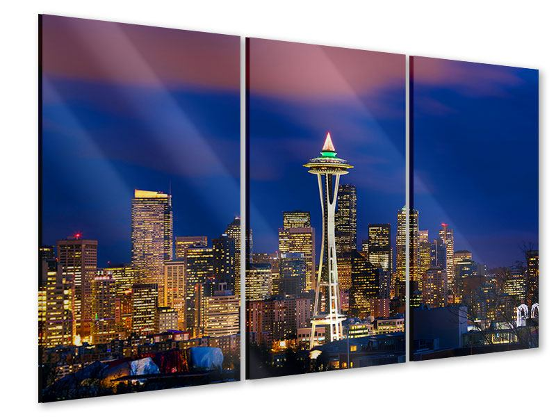 Acrylglasbild 3-teilig Skyline Seattle