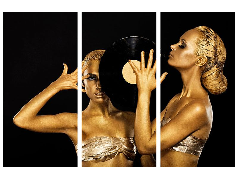 Acrylglasbild 3-teilig Gold-DJ`s