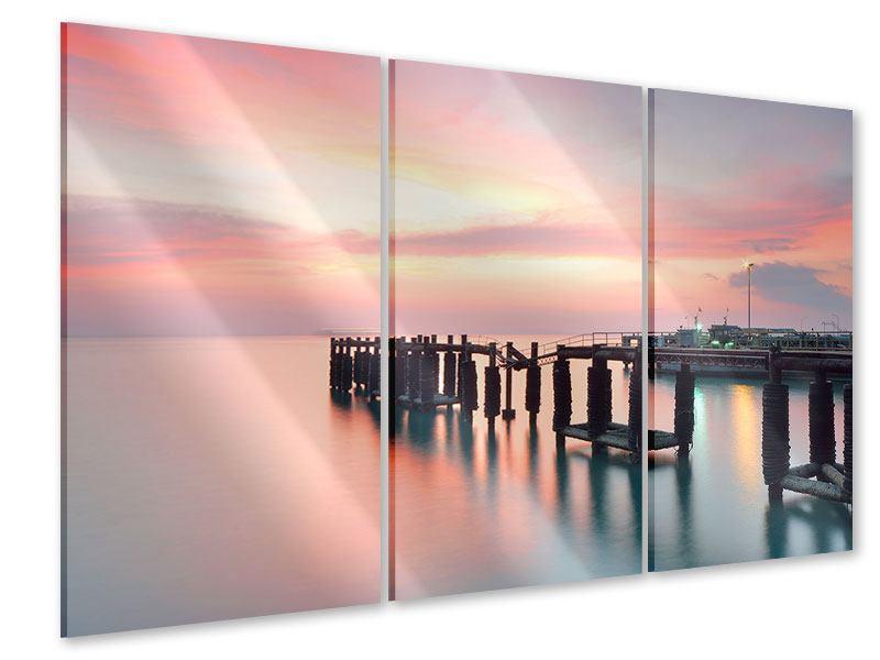 Acrylglasbild 3-teilig Der beruhigende Sonnenuntergang