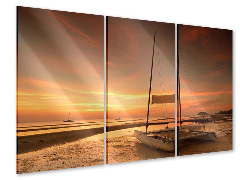 Acrylglasbild 3-teilig Sonnenuntergang am Strand