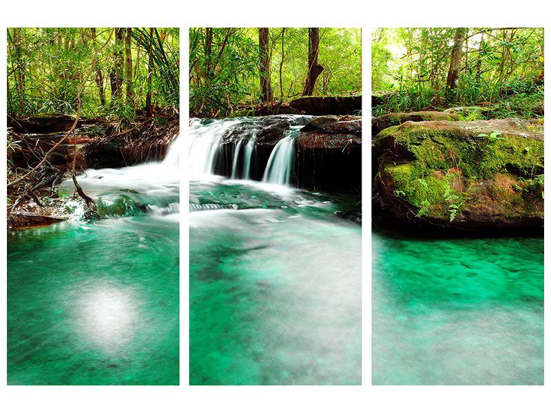 Acrylglasbild 3-teilig Der Fluss am Wasserfall