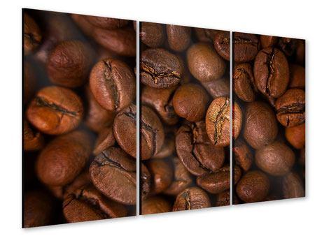 Acrylglasbild 3-teilig Close Up Kaffeebohnen
