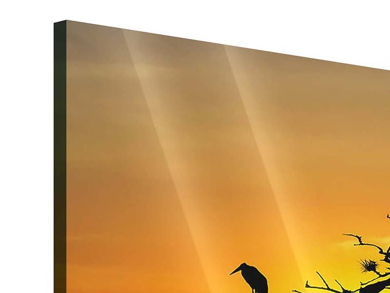 Acrylglasbild 3-teilig Safarietiere bei Sonnenuntergang