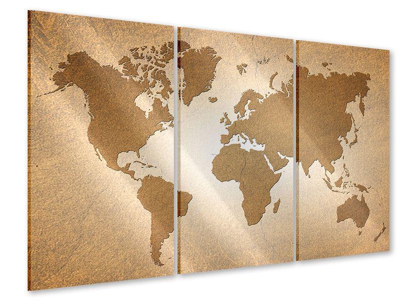 Acrylglasbild 3-teilig Karte der Welt in Vintage