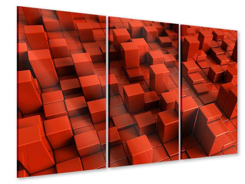 Acrylglasbild 3-teilig 3D-Rechtkant