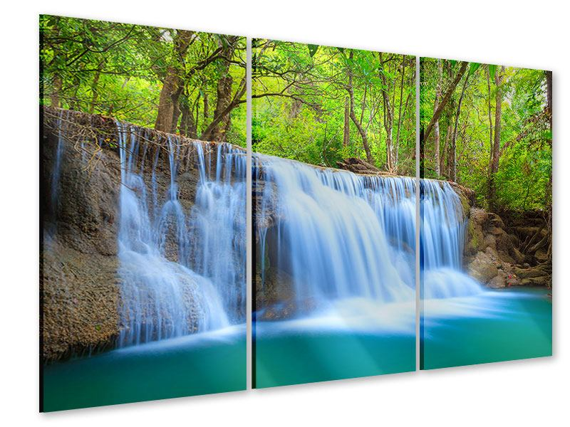 Acrylglasbild 3-teilig Wasserfall Si Nakharin