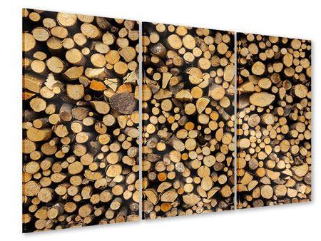 Acrylglasbild 3-teilig Brennholz