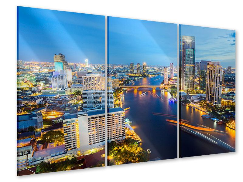 Acrylglasbild 3-teilig Skyline Bangkok bei Sonnenuntergang