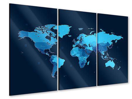 Acrylglasbild 3-teilig Weltkarte