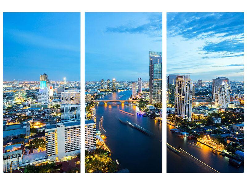 Acrylglasbild 3-teilig Skyline Bangkok in der Abenddämmerung