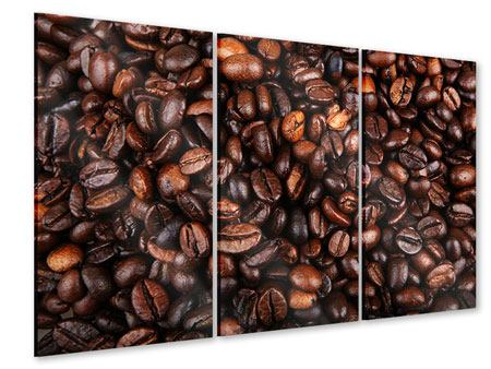 Acrylglasbild 3-teilig Kaffeebohnen in XXL