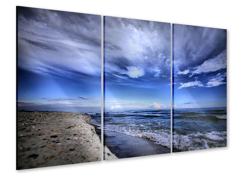 Acrylglasbild 3-teilig Strandwellen