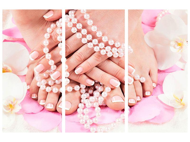 Acrylglasbild 3-teilig Hände und Füsse