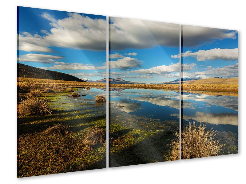 Acrylglasbild 3-teilig Wasserspiegelung am See