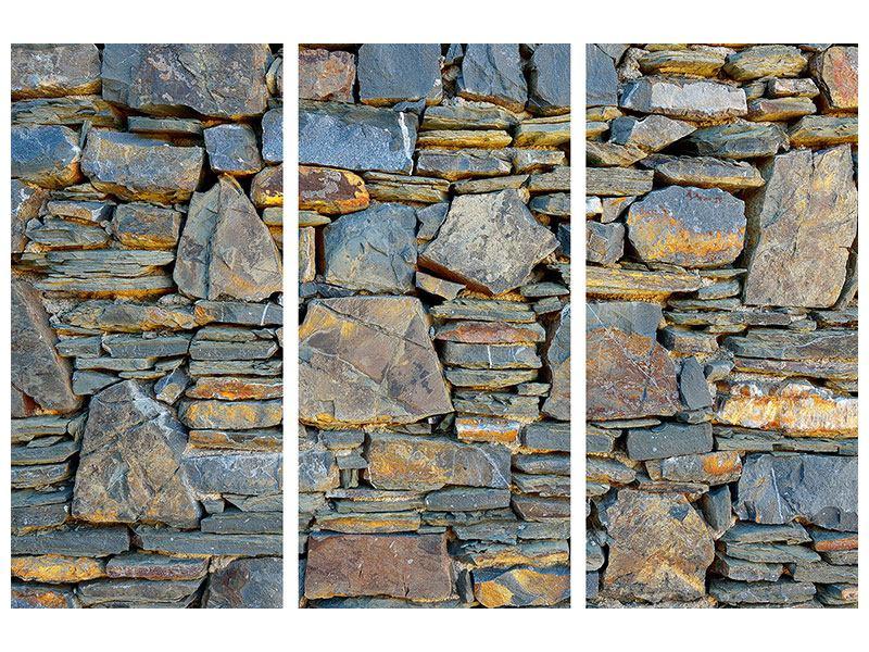 Acrylglasbild 3-teilig Natürliche Steinmauer