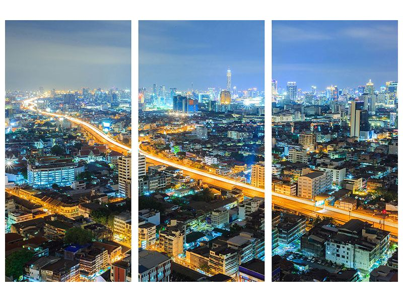 Acrylglasbild 3-teilig Skyline Bangkok im Fieber der Nacht