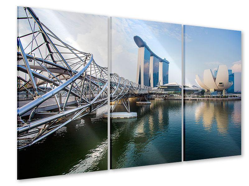 Acrylglasbild 3-teilig Singapur