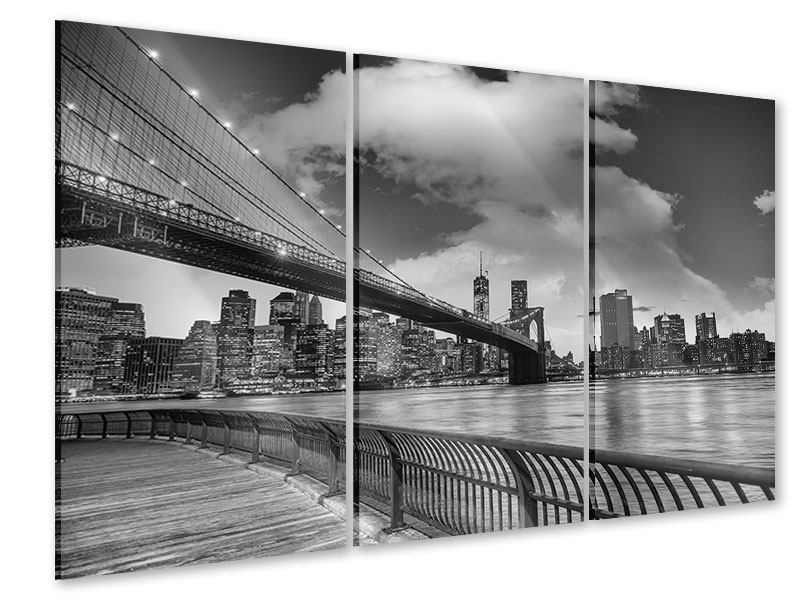 Acrylglasbild 3-teilig Skyline Schwarzweissfotografie Brooklyn Bridge NY