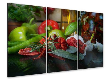 Acrylglasbild 3-teilig Mediterranes Gemüse