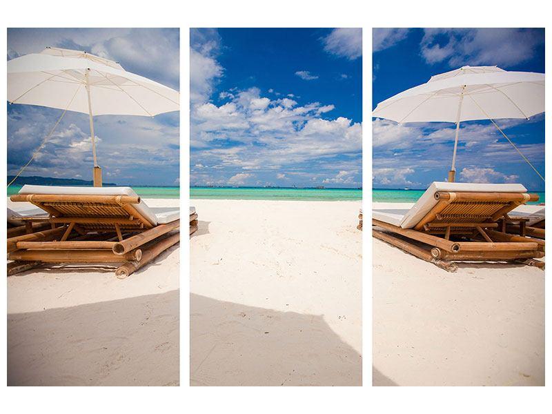 Acrylglasbild 3-teilig Liegen am Strand