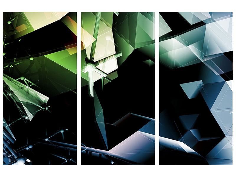 Acrylglasbild 3-teilig 3D-Polygon