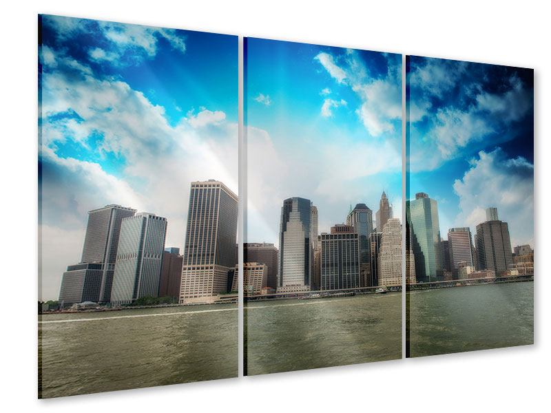 Acrylglasbild 3-teilig Skyline Lower Manhattan