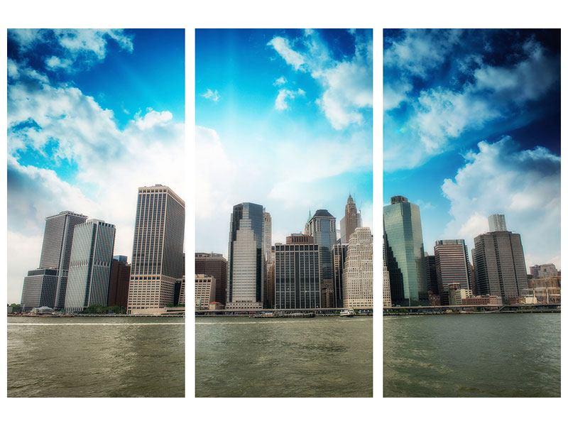 Acrylglasbild 3-teilig Skyline Lower Manhattan