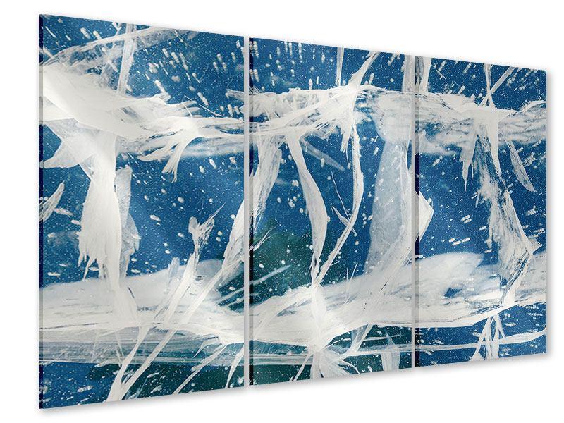 Acrylglasbild 3-teilig Eiskristalle