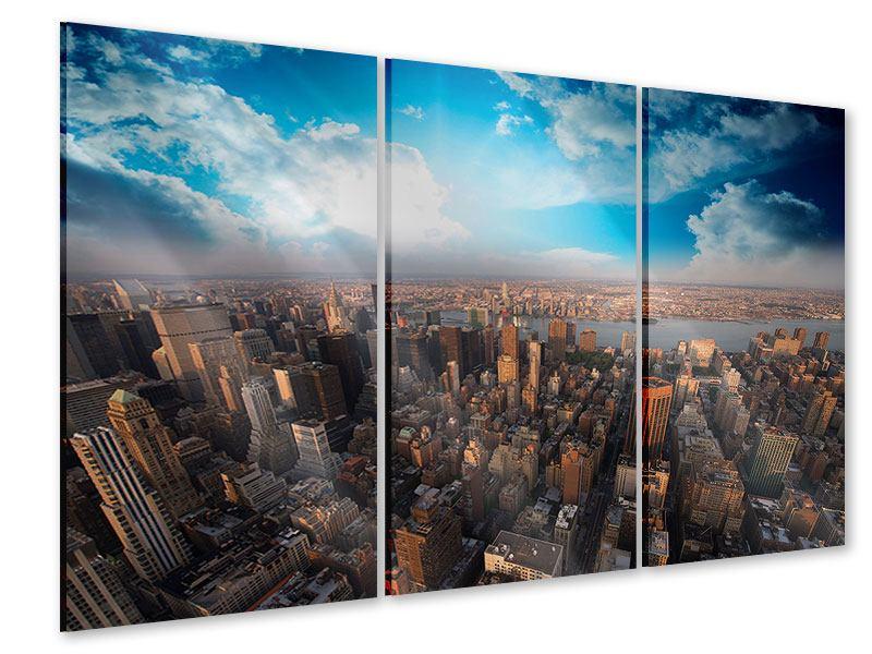 Acrylglasbild 3-teilig Skyline Über den Dächern von Manhattan
