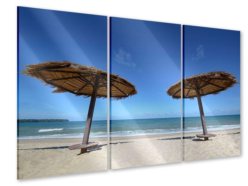 Acrylglasbild 3-teilig Umbrellas