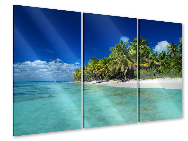 Acrylglasbild 3-teilig Die Trauminsel