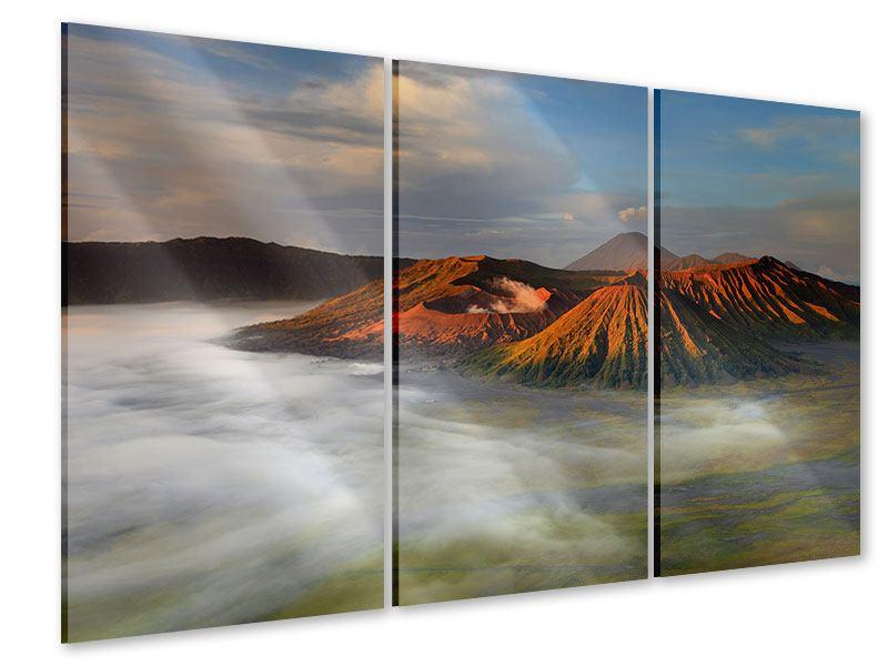 Acrylglasbild 3-teilig Der Bromo Vulkan