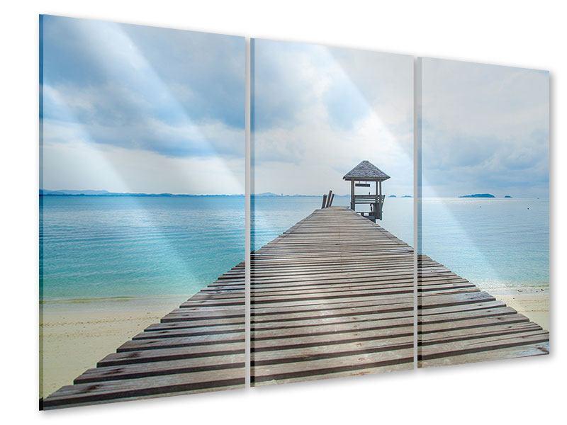 Acrylglasbild 3-teilig Ozean-Steg