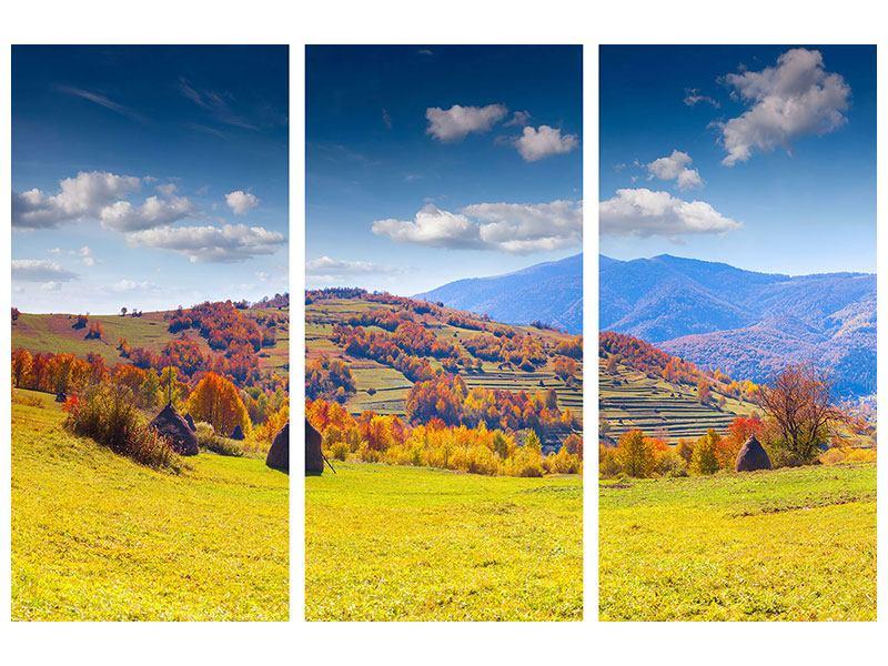 Acrylglasbild 3-teilig Herbstliche Berglandschaft