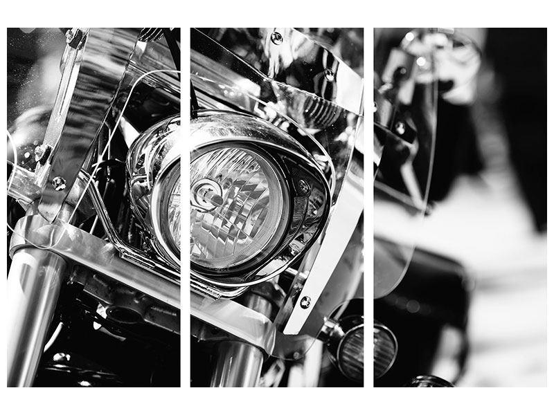 Acrylglasbild 3-teilig Motorrad Close Up