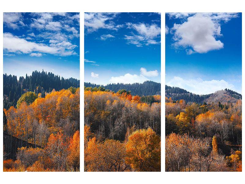 Acrylglasbild 3-teilig Wolken ziehen auf