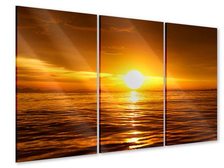 Acrylglasbild 3-teilig Glühender Sonnenuntergang am Wasser