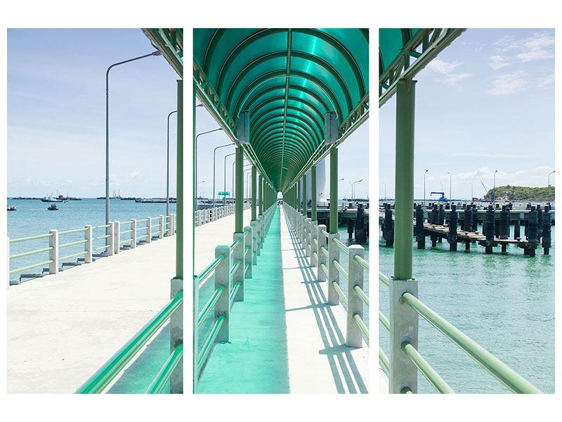 Acrylglasbild 3-teilig Die Brücke am Meer