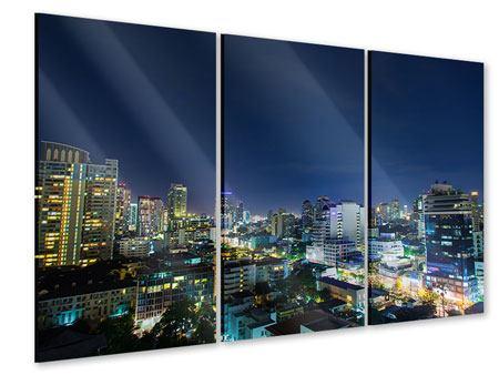 Acrylglasbild 3-teilig Skyline Nachts in Bangkok