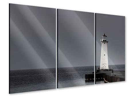 Acrylglasbild 3-teilig Der Leuchtturm bei Nacht