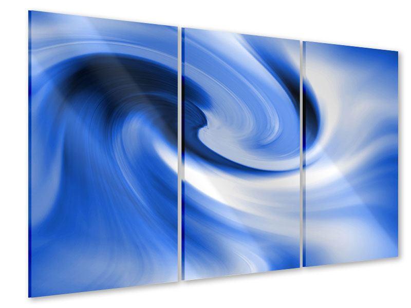 Acrylglasbild 3-teilig Abstrakte blaue Welle