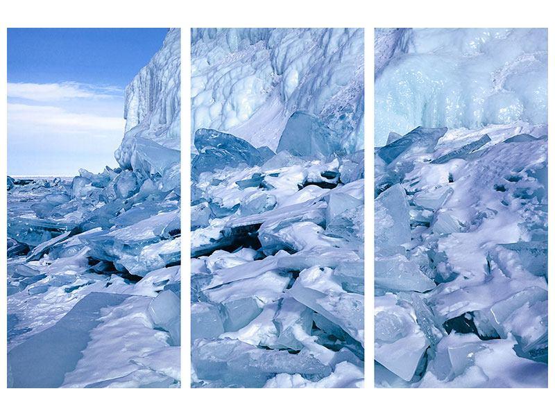 Acrylglasbild 3-teilig Eislandschaft Baikalsee