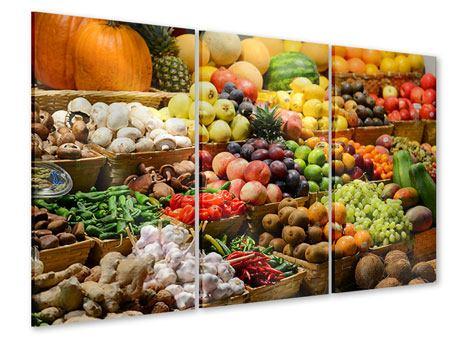Acrylglasbild 3-teilig Obstmarkt