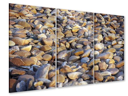 Acrylglasbild 3-teilig Strandsteine