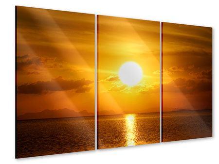 Acrylglasbild 3-teilig Sonnenuntergang See