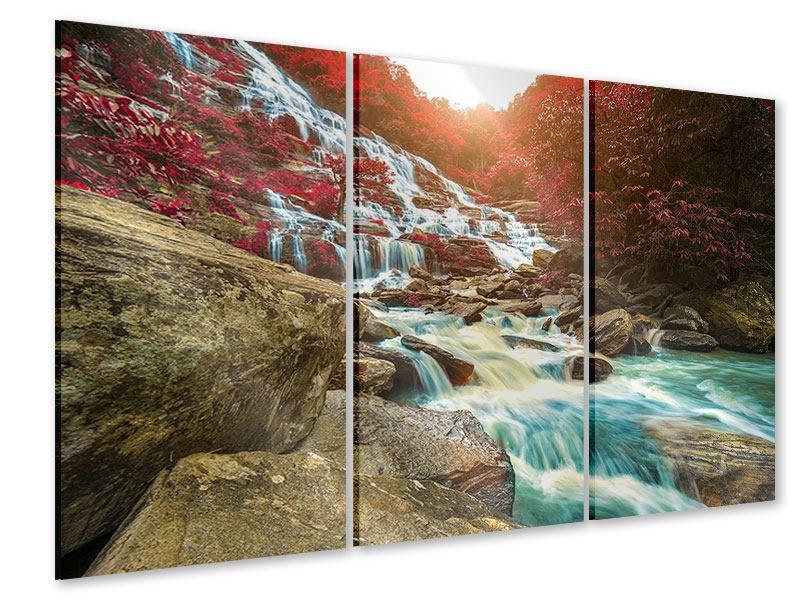 Acrylglasbild 3-teilig Exotischer Wasserfall