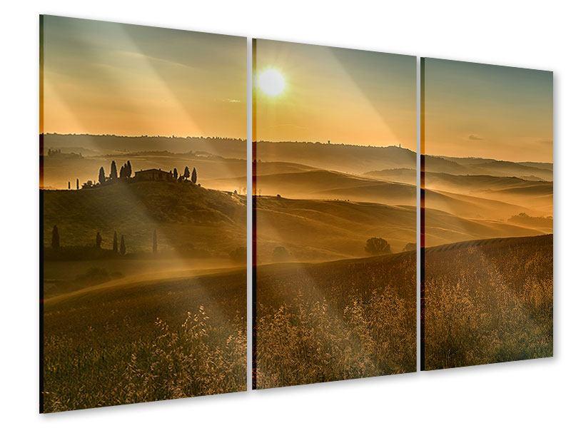 Acrylglasbild 3-teilig Sonnenuntergang im Gebirge