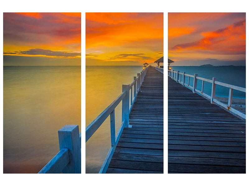 Acrylglasbild 3-teilig Eine Holzbrücke im fernen Osten